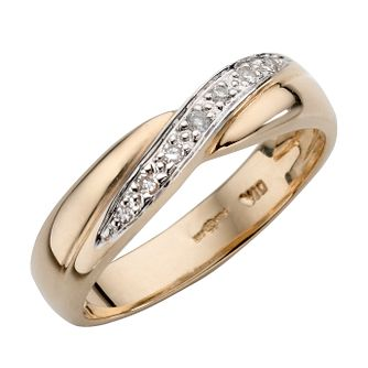 9ct Yellow Gold And Rhodium Plated Diamond Ring - Product number 4622251