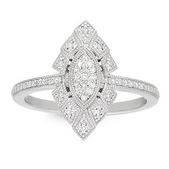 Neil Lane Silver 0.10ct Diamond Marquise Shaped Cluster Ring - Product number 4622928