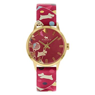 Radley Circus Dog Ladies' Red Printed Leather Strap Watch - Product number 4623215