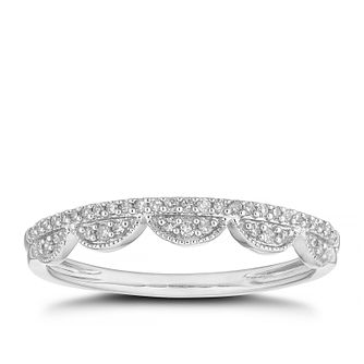 9ct White Gold Diamond Antique Frill Wedding Ring - Product number 4623835