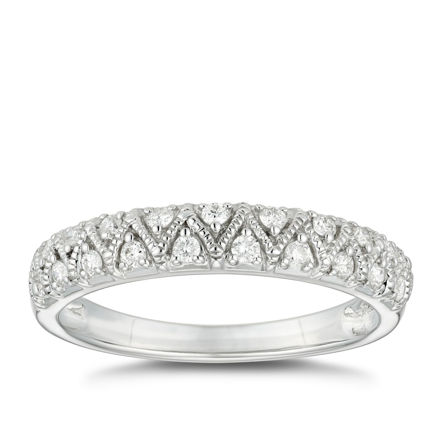 9ct White Gold 1/5ct Diamond Vintage Milgrain Wedding Ring - Product number 4624599