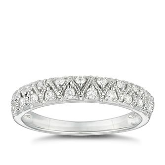 9ct White Gold 0.20ct Diamond Vintage Milgrain Wedding Ring - Product number 4624599