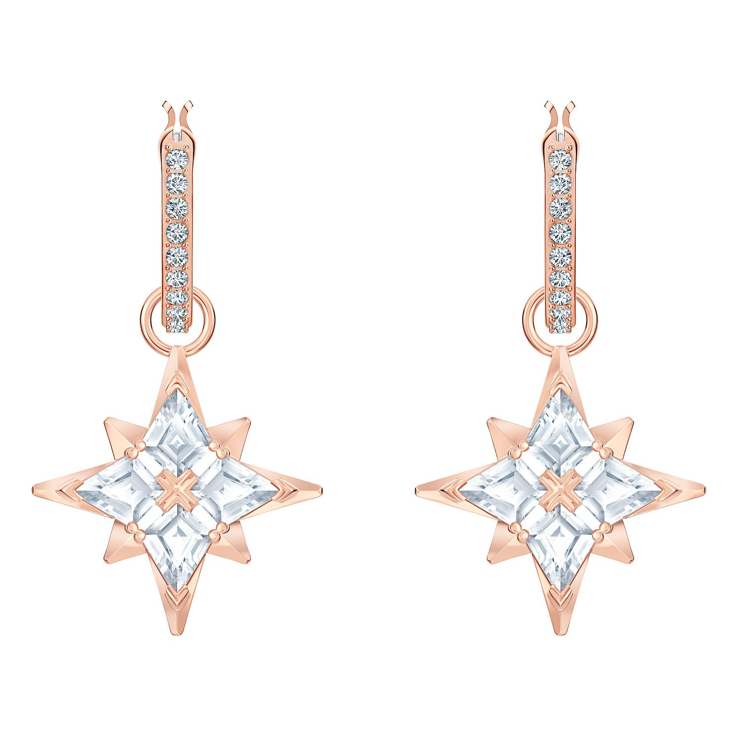Swarovski Rose Gold Plated Zirconia Star Hoop Earrings - Product number 4624882