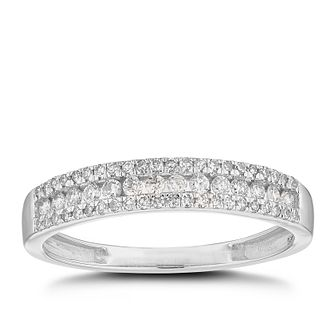 18ct White Gold 1/4ct Diamond 3 Rows Weddomg Ring - Product number 4626141