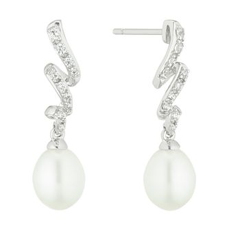 Silver Freshwater Pearl & Cubic Zirconia Twist Drop Earrings - Product number 4626575