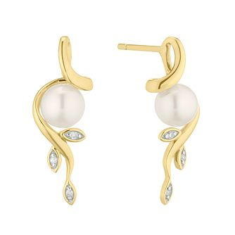 9ct Yellow Gold Freshwater Pearl & Diamond Flower Earrings - Product number 4626583