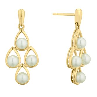 9ct Yellow Gold Freshwater Pearl Drop Earrings - Product number 4626656
