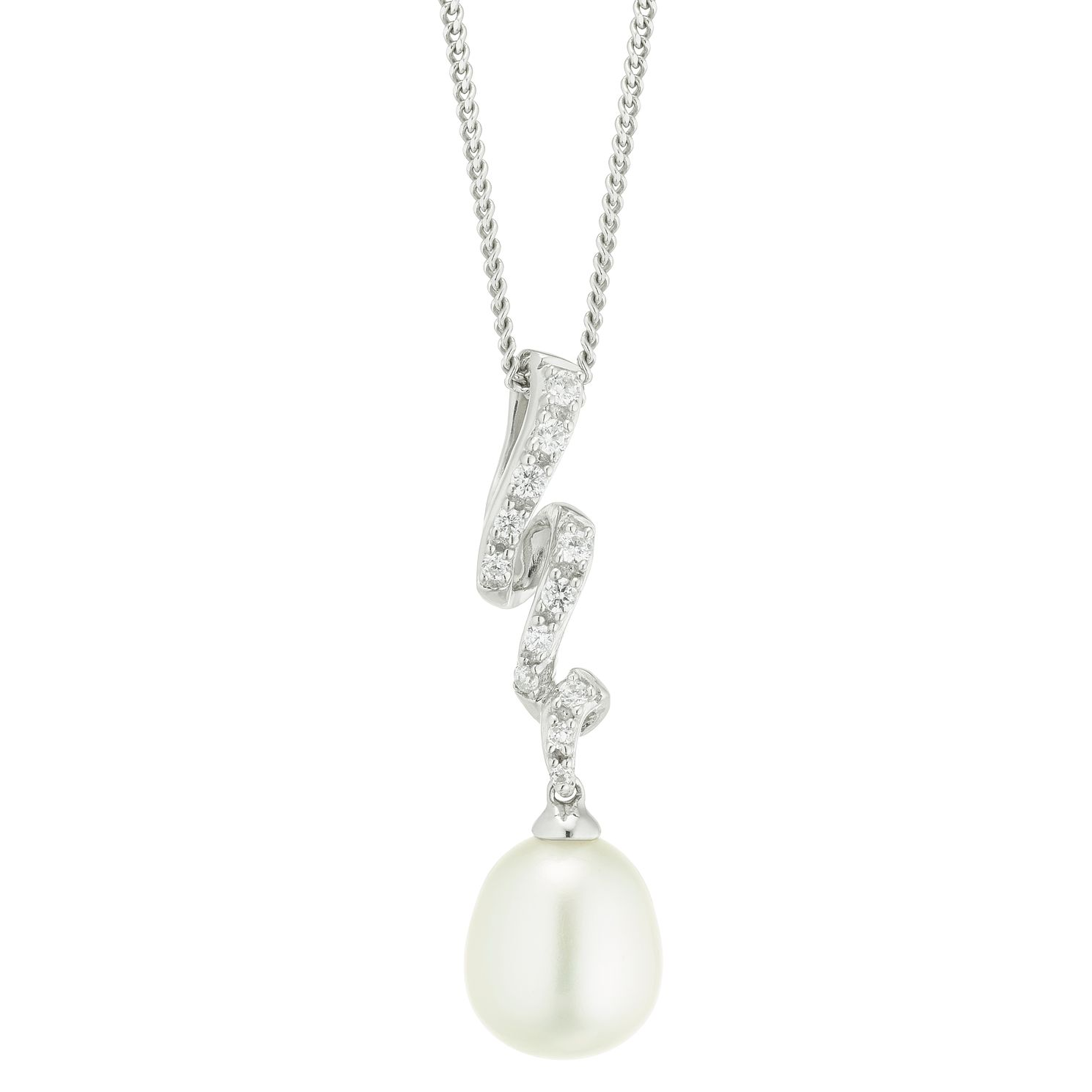 Silver Cultured Freshwater Pearl & Cubic Zirconia Pendant - Product number 4626664