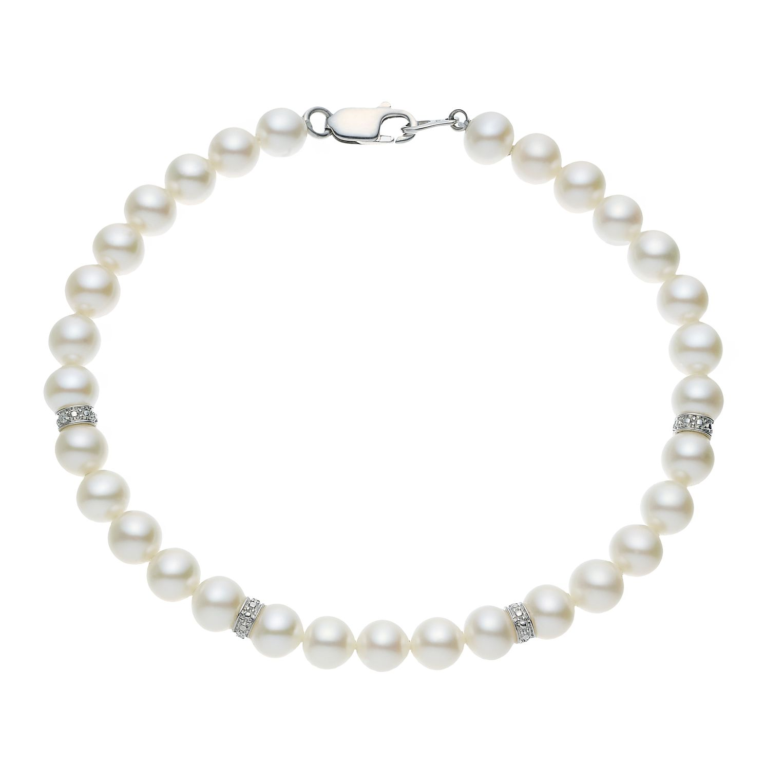 9ct White Gold Cultured Freshwater Pearl & Diamond Bracelet - Product number 4626753