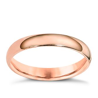 9ct rose gold 3mm extra heavyweight court ring - Product number 4628926
