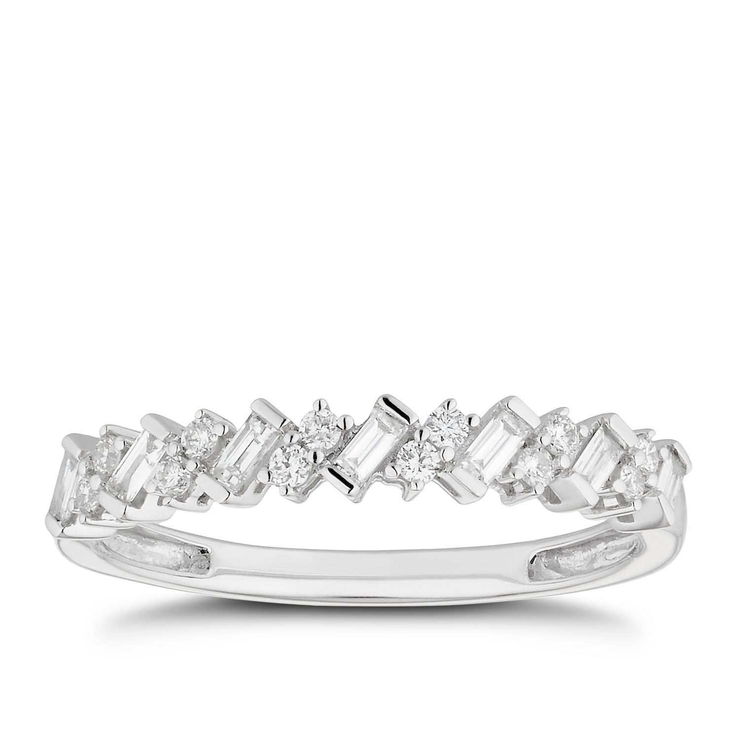 18ct White Gold 0.25ct Diamond Diagonal Wedding Ring - Product number 4632079