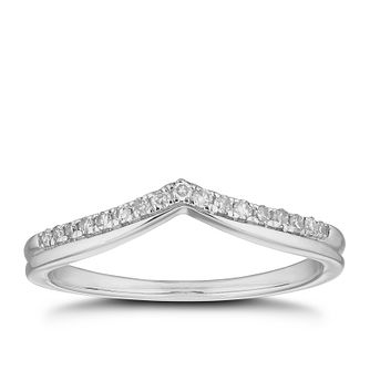 18ct White Gold 0.10ct Diamond Wishbone Shaped Ring - Product number 4632257