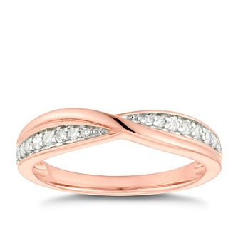 18ct Rose Gold 0.15ct Diamond Crossover Wedding Ring - Product number 4632397