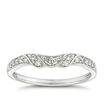 18ct White Gold 0.10ct Diamond Wave Shaped Wedding Ring - Product number 4634519
