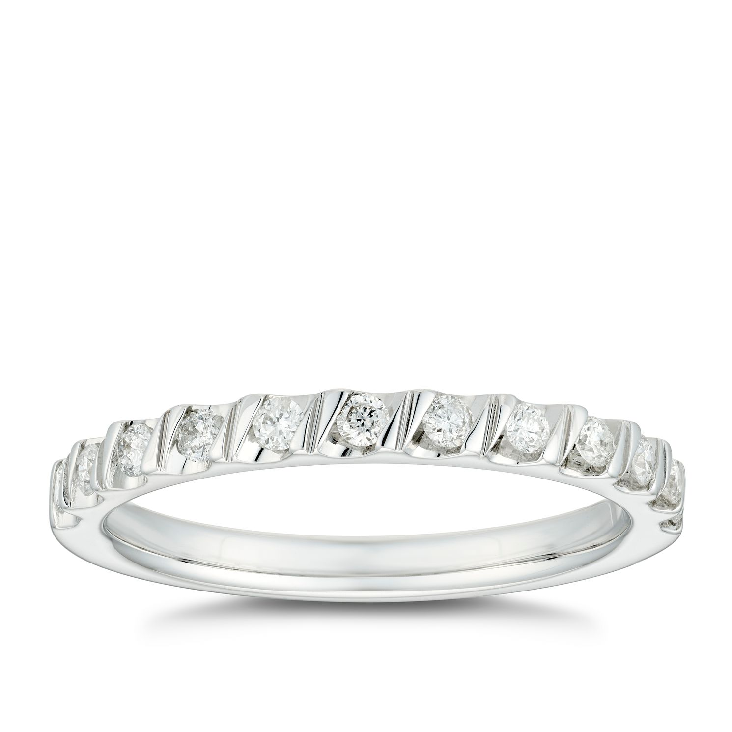 18ct White Gold 1/5ct Diamond Tension Set Wedding Ring - Product number 4635760