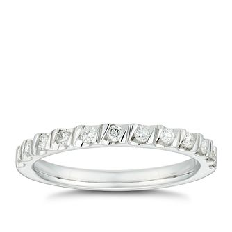18ct White Gold 0.20ct Diamond Tension Set Wedding Ring - Product number 4635760