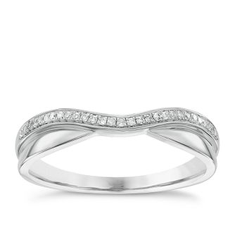 Platinum, Diamond & Polished Shaped Wedding Ring - Product number 4637305