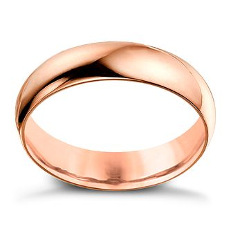 9ct Rose Gold 5mm Extra Heavyweight D Shape Ring - Product number 4637534