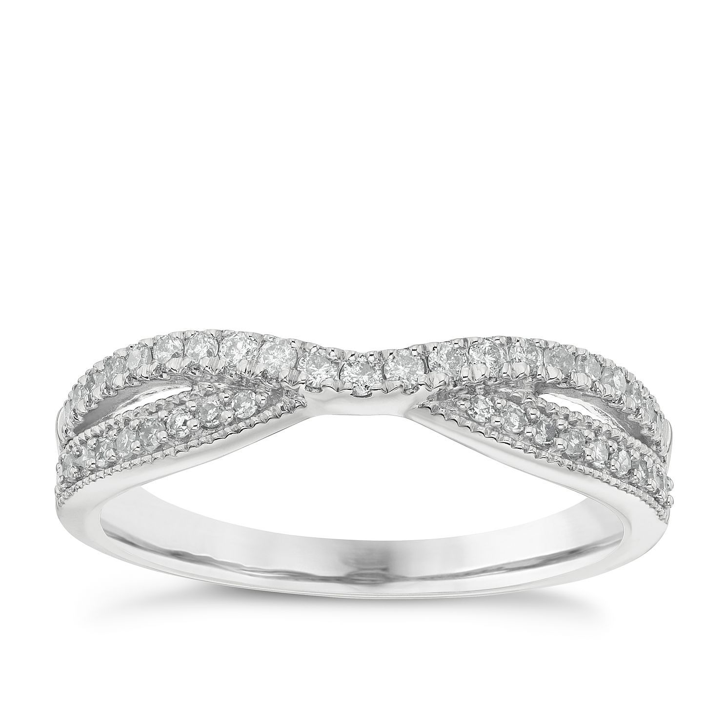 Platinum 1/4ct Diamond Crossover Wedding Band - Product number 4638395
