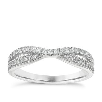 Platinum 0.25ct Diamond Crossover Wedding Band - Product number 4638395