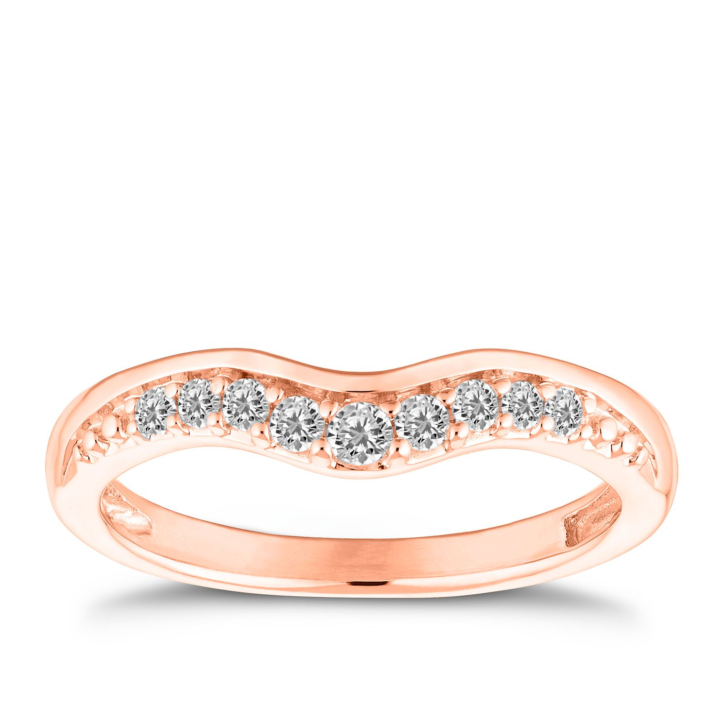 9ct Rose Gold 0.15ct Diamond Curve Ring - Product number 4638859
