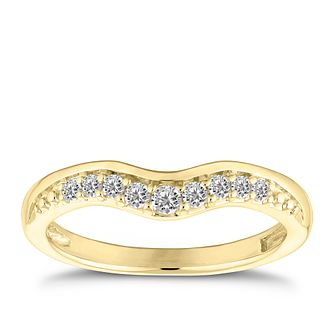 9ct Yellow Gold 0.15ct Diamond Curve Ring - Product number 4639162