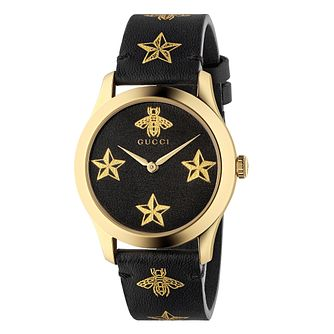 Gucci G-Timeless Ladies Yellow Gold Plated Black Strap Watch - Product number 4639332