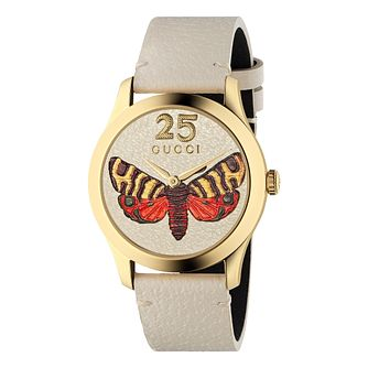 Gucci G-Timeless Butterfly Cream Leather Strap Watch - Product number 4639367