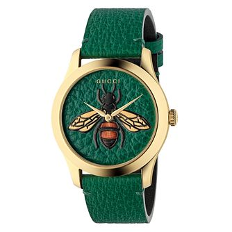 a12415091 Gucci G-Timeless Bee Green Leather Strap Watch - Product number 4639413