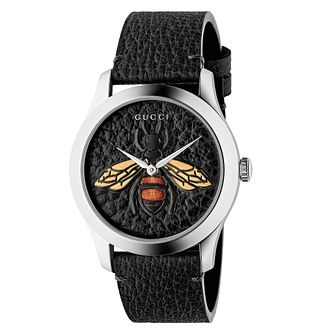 Gucci G-Timeless Ladies' Bee Black Leather Strap Watch - Product number 4639421