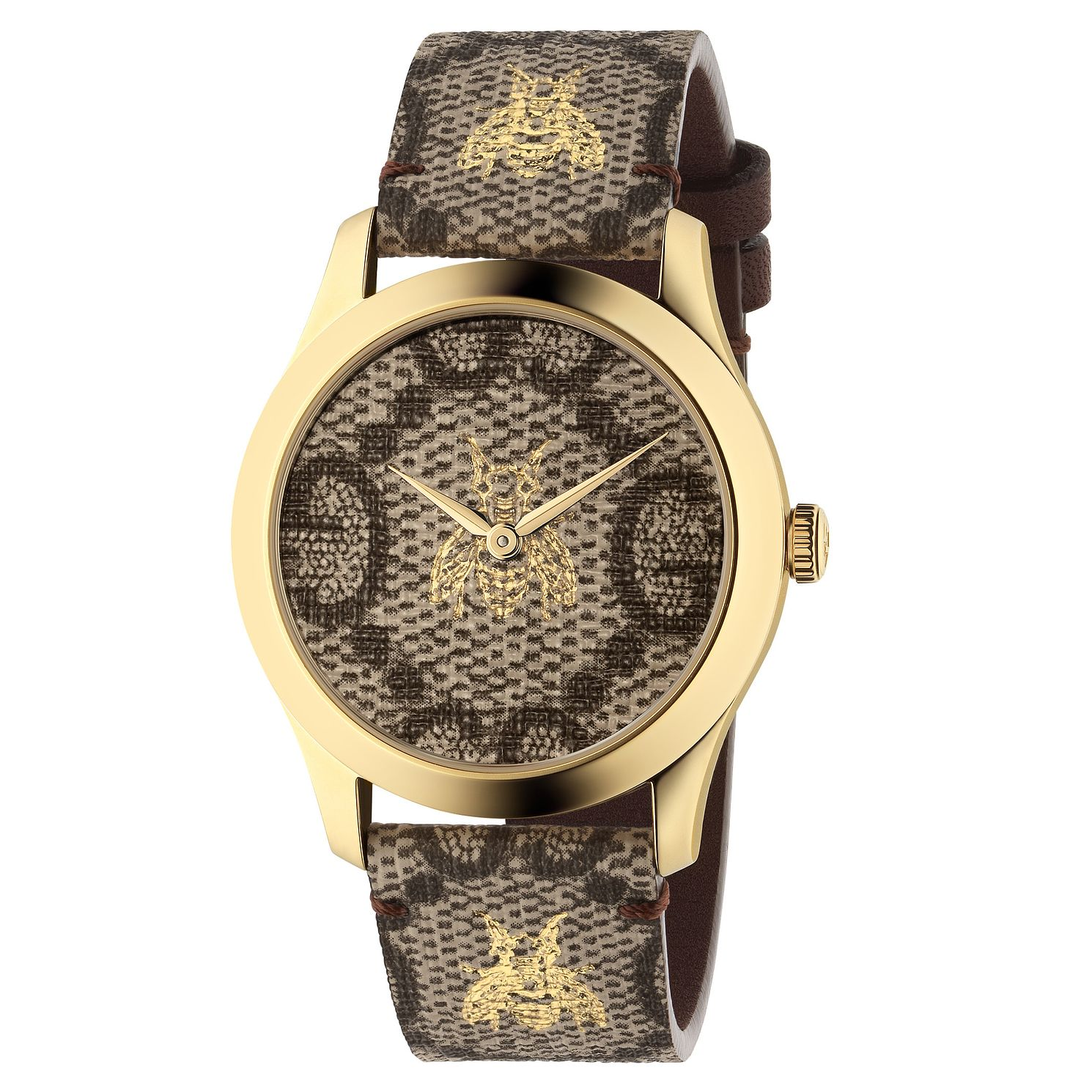Gucci G-Timeless Bee Grey Leather Strap Watch - Product number 4639529