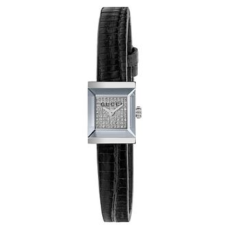 Gucci G-Frame Ladies' Diamond Black Leather Strap Watch - Product number 4639642