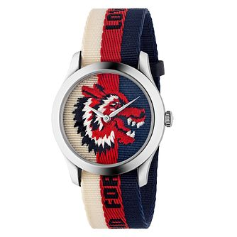 Gucci G-Timeless Wolf Multi-Coloured Stripe Strap Watch - Product number 4639693
