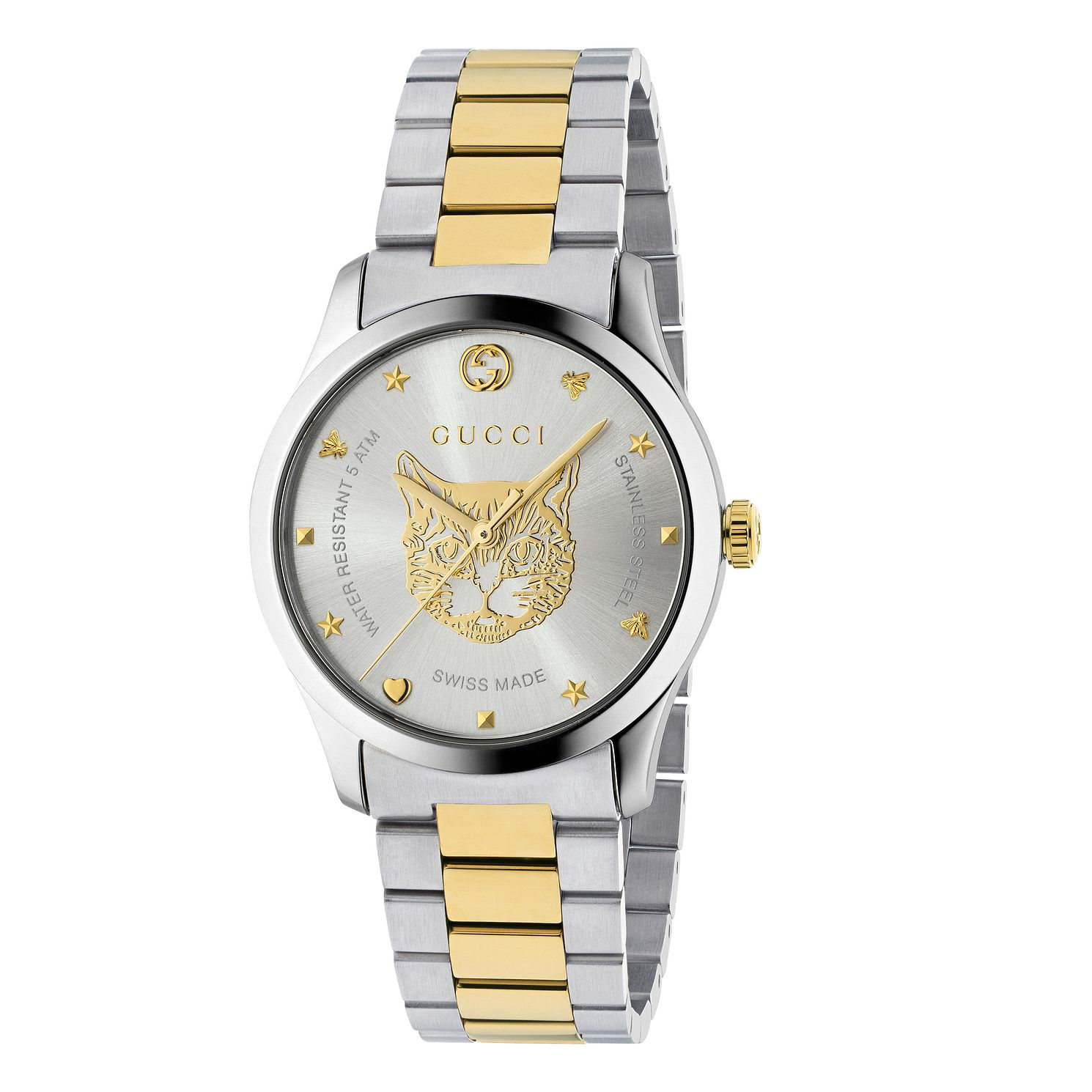 Gucci G-Timeless Unisex Cat Two Tone Bracelet Watch - Product number 4639715