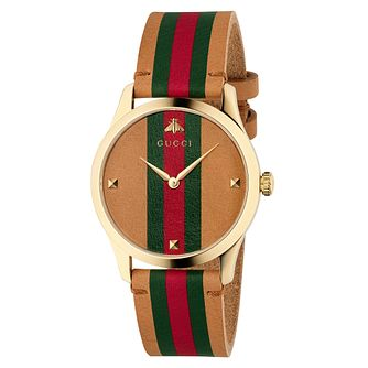 Gucci G-Timeless Unisex Brown Striped Leather Strap Watch - Product number 4639774