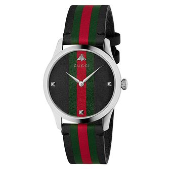 Gucci G-Timeless Unisex Striped Black Leather Strap Watch - Product number 4639790