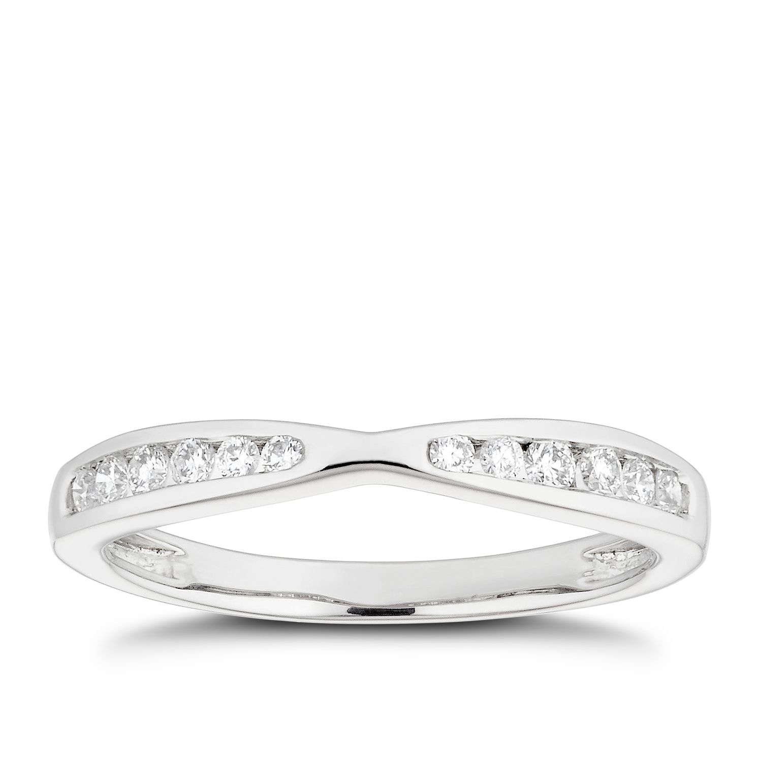 Platinum 0.20ct Diamond Channel Set Shaped Wedding Ring - Product number 4640632