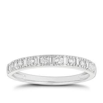 Platinum 1/5ct Diamond Brilliant & Baguette Cut Wedding Ring - Product number 4641957