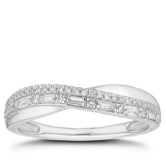 Platinum 0.25ct Diamond Cmix-Cut rossover Wedding Ring - Product number 4642449