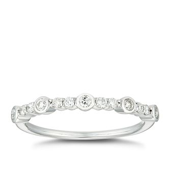 Platinum 0.20ct Diamond Round Rubover Set Wedding Ring - Product number 4642694