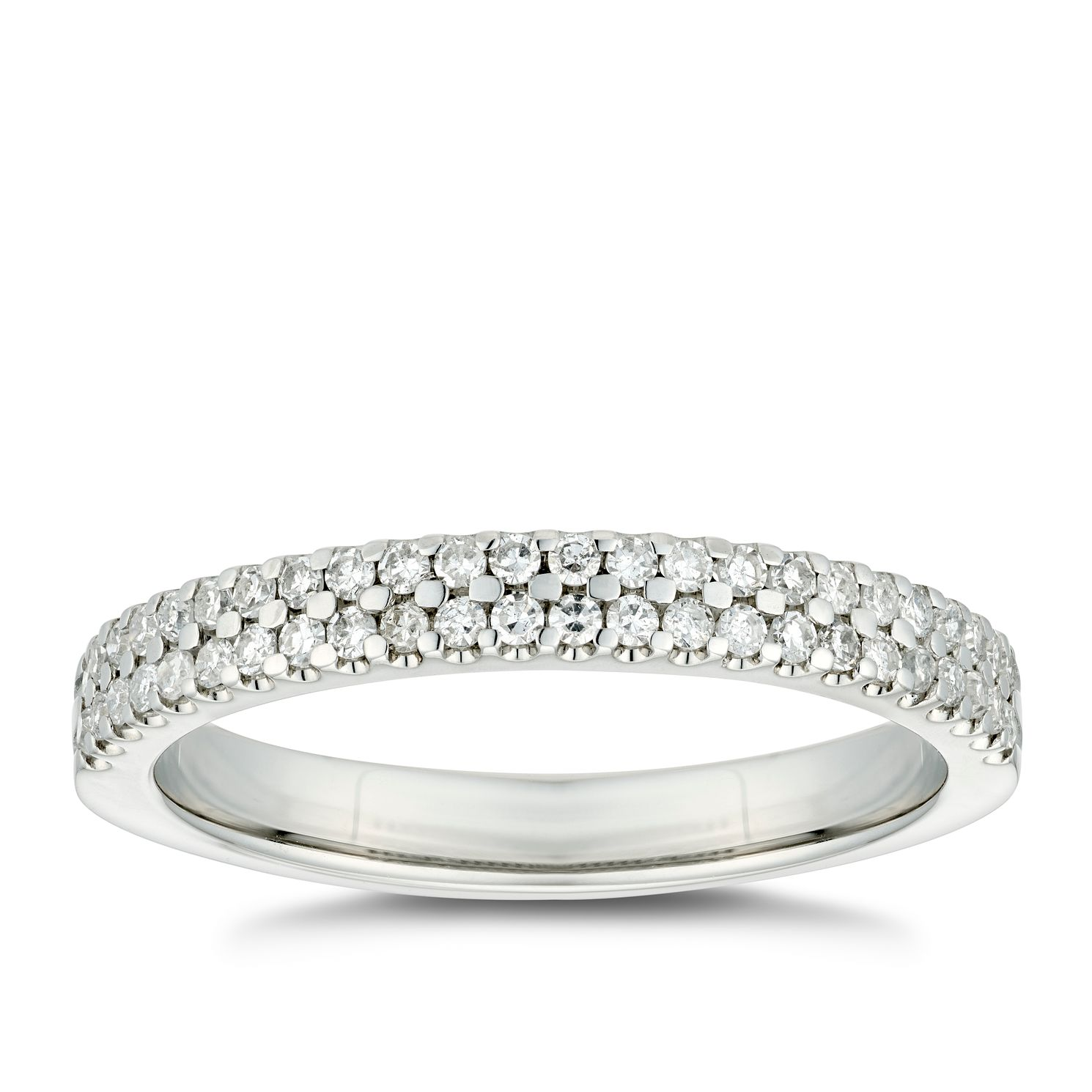 Platinum 1/4ct Diamond Double Row Wedding Ring - Product number 4643089