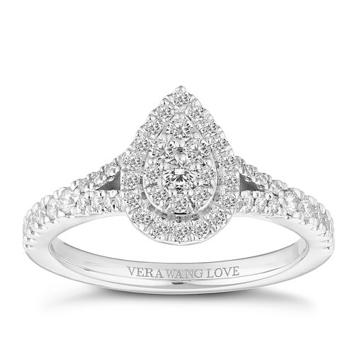 Vera Wang 18ct White Gold 0.45ct Pear Shaped Cluster Ring - Product number 4643682