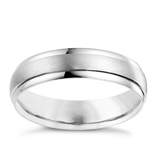 18ct white gold 5mm matt & polish ring - Product number 4643704