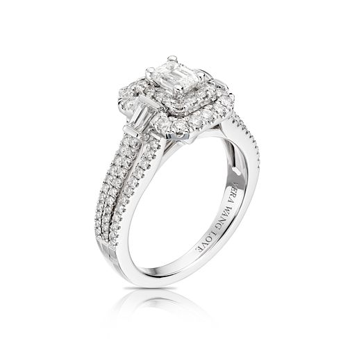 Vera Wang 18ct White Gold 1.18ct Emerald Cut Engagement Ring - Product number 4645200