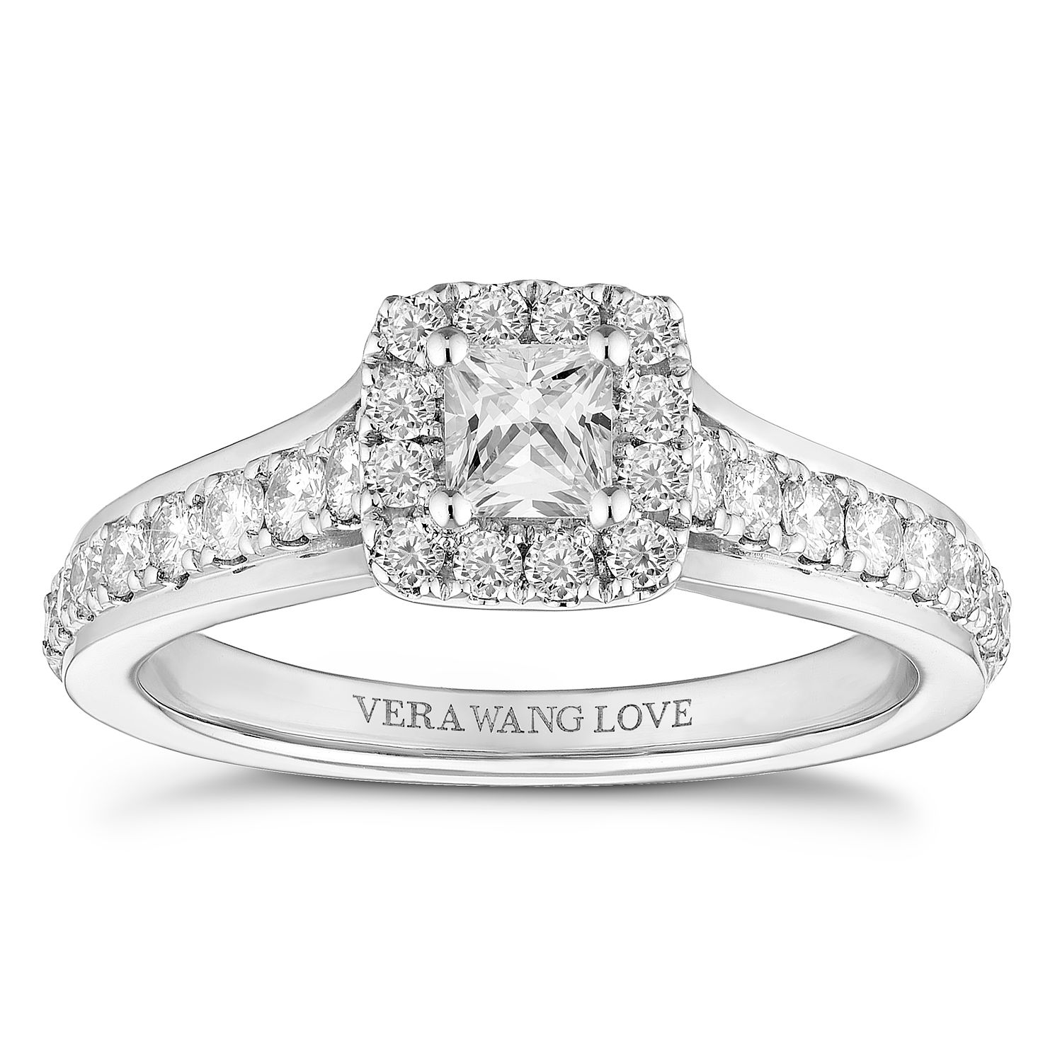 Vera Wang 18ct White Gold 0.69ct Princess Cut Halo Ring - Product number 4645758