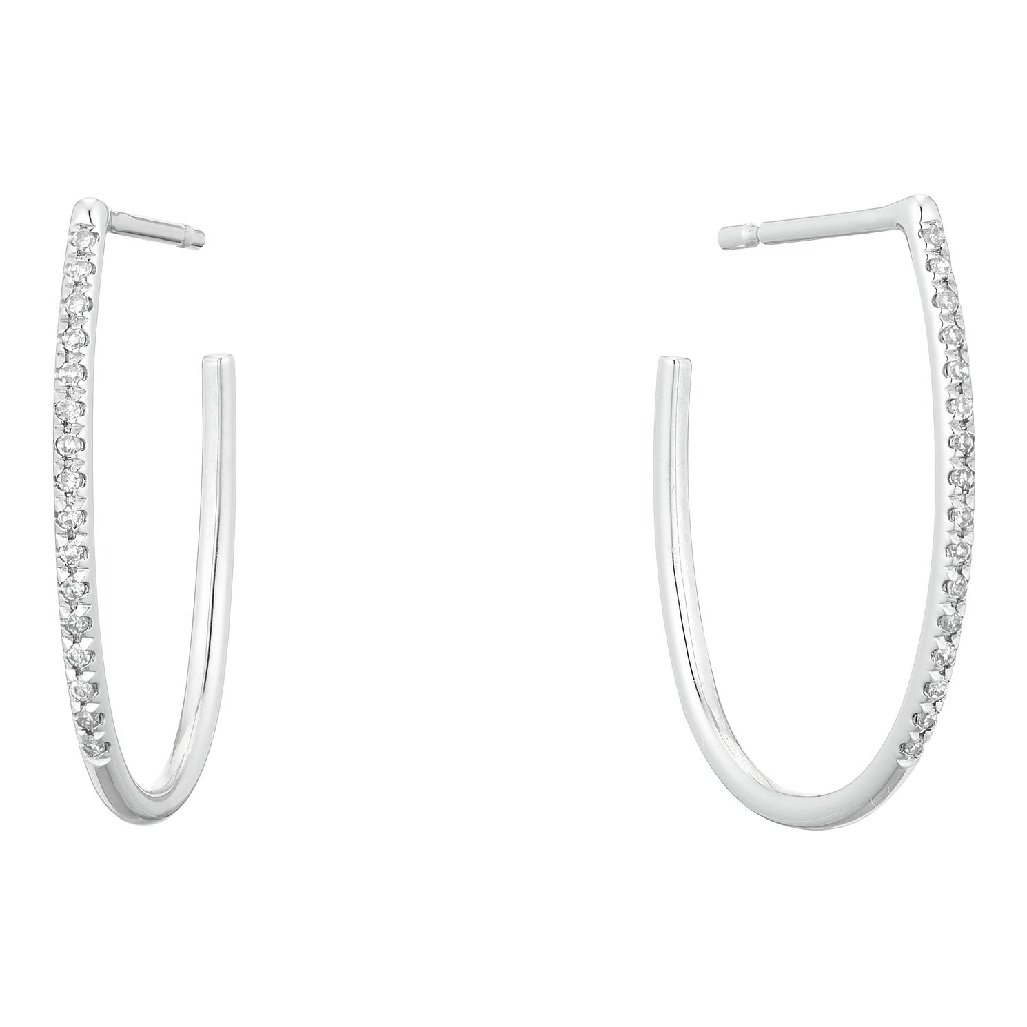 9ct Diamond Oval Hoop Earrings - Product number 4646746