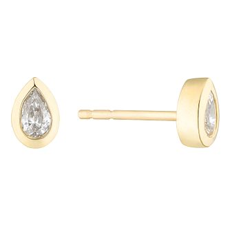9ct Yellow Gold Pear Cut Diamond Earrings - Product number 4646924