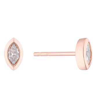 9ct Rose Gold 0.15ct Marquise Cut Diamond Earrings - Product number 4646975