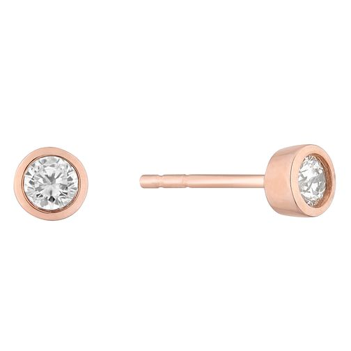 9ct Rose Gold Round Brilliant Cut Diamond Earrings - Product number 4647009