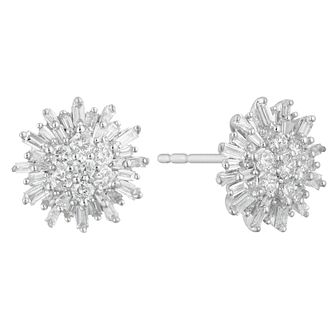 a9609c7a6f8 9ct White Gold 1 2ct Baguette Cluster Earrings - Product number 4648285